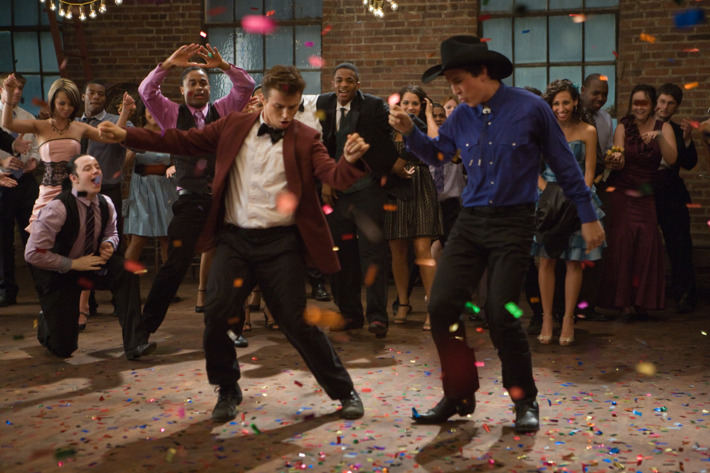 Left to right: Kenny Wormald plays Ren and Miles Teller plays Willard in FOOTLOOSE, from Paramount Pictures and Spyglass Entertainment.