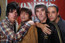 LONDON, ENGLAND - OCTOBER 18:  (L-R) John Squire, Mani, Ian Brown and Reni of The Stone Roses pose for a portrait to announce they have reformed for two nights at Heaton Park in Manchester on 29th and 30th June 2012 at The Soho Hotel on October 18, 2011 in London, United Kingdom.  (Photo by Dave J Hogan/Getty Images)
