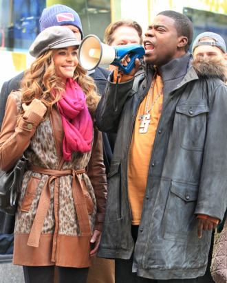 Denise Richards, Tina Fey and Tracy Morgan on location at '30 Rock' in NYC. <P> Pictured: Denise Richards and Tracy Morgan <P> <B>Ref: SPL326470 171011 </B><BR/> Picture by: Jackson Lee / Splash News<BR/> </P><P> <B>Splash News and Pictures</B><BR/> Los Angeles:310-821-2666<BR/> New York:212-619-2666<BR/> London:870-934-2666<BR/> photodesk@splashnews.com<BR/> </P>