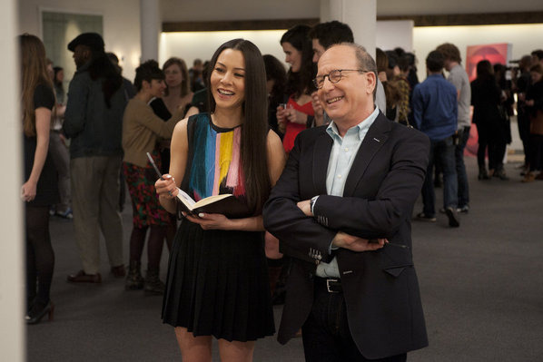 "WORK OF ART: THE NEXT GREAT ARTIST -- Episode 103 ""Make It Pop"" -- Pictured: (l-r) China Chow, Jerry Saltz -- Photo by: David Giesbrecht/Bravo"