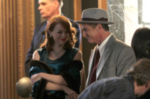 Emma Stone and Sean Penn film scenes for 'Gangster Squad' in Downtown Los Angeles. Emma was dressed in a floor length green gown as she and Penn exited a car and entered a building surrounded by waiting members of the press.          <P>         Pictured: Emma Stone and Sean Penn         <P>         <B>Ref: SPL331608  031111  </B><BR/>         Picture by: Splash News<BR/>         </P><P>         <B>Splash News and Pictures</B><BR/>         Los Angeles:	310-821-2666<BR/>         New York:	212-619-2666<BR/>         London:	870-934-2666<BR/>         photodesk@splashnews.com<BR/>         </P>