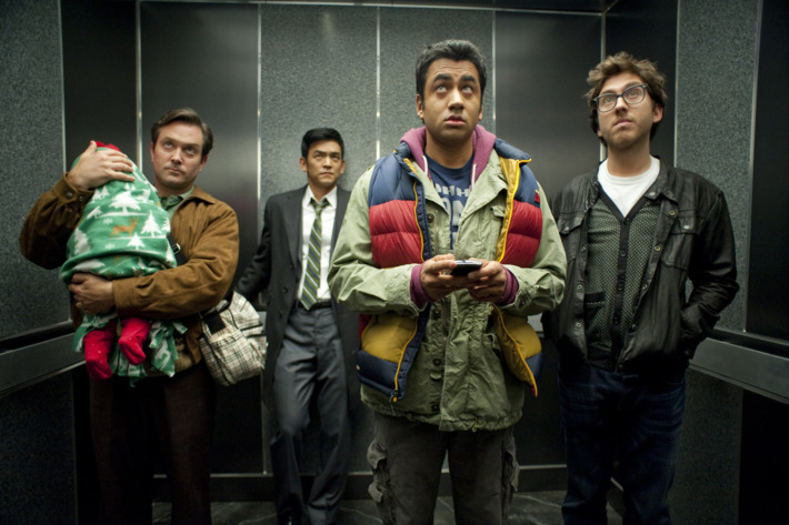 "(L-r) TOM LENNON as Todd, JOHN CHO as Harold, KAL PENN as Kumar and AMIR BLUMENFELD as Adrian in New Line Cinema's and Mandate Pictures' comedy ""A VERY HAROLD & KUMAR 3D CHRISTMAS,"" a Warner Bros. Pictures release."