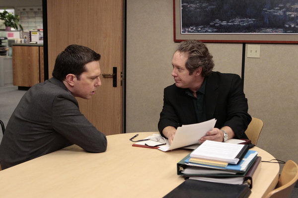"""THE OFFICE -- """"Doomsday"""" Episode 803 -- Pictured: (l-r) Ed Helms as Andy Bernard, James Spader as Robert California -- Photo by: Chris Haston/NBC"""