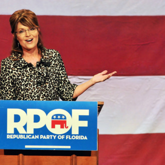 LAKE BUENA VISTA, FL - NOVEMBER 3: Former Alaska governor Sarah Palin speaks during the Republican Party of Florida's fundraising event at Disney's Grand Floridian Resort on November 3, 2011 in Lake Buena Vista, Florida. About 800 people attended the fundraiser to listen to Palin speak, along with Governor Rick Scott and the Attorney General Pam Bondi. (Photo by Roberto Gonzalez/Getty Images)