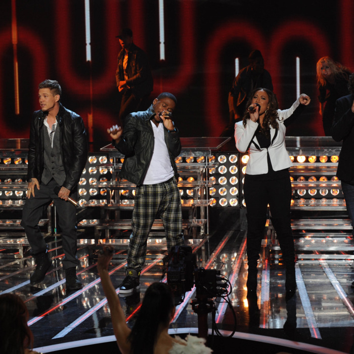 THE X FACTOR: Top 4 to 3 Elimination: L-R: Chris Rene, Marcus Canty, Melanie Amaro and Josh Krajcik perform on THE X FACTOR airing on Thursday, Dec. 15 (8:00-9:00 PM ET/PT) on FOX. CR: Ray Mickshaw / FOX.