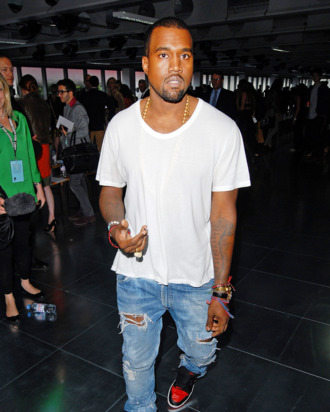 LONDON, UNITED KINGDOM - SEPTEMBER 19: Kanye West arriving for the Christopher Kane show at London Fashion Week Spring/Summer 2012 on September 19, 2011 in London, United Kingdom. (Photo by Stuart Wilson/Getty Images)