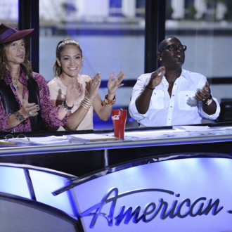 AMERICAN IDOL: L-R: Steven Tyler, Jennifer Lopez and Randy Jackson on AMERICAN IDOL airing Wednesday, Jan. 18 (8:00-10:00 PM ET/PT) on FOX. CR: Michael Becker / FOX.. CR: Michael Becker / FOX.