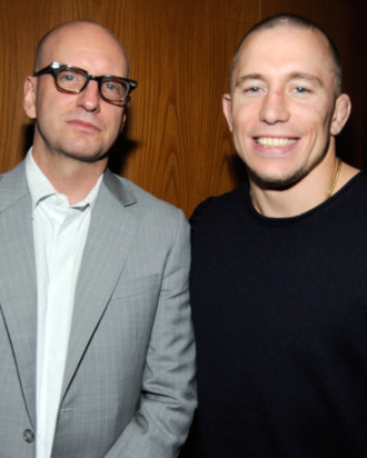 LOS ANGELES, CA - JANUARY 05: Director Steven Soderbergh (L) and UFC fighter Georges St-Pierre attend Relativity Media's premiere of