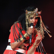 M.I.A. performs during the Bridgestone Super Bowl XLVI Halftime Show