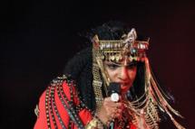 M.I.A. performs during the Bridgestone Super Bowl XLVI Halftime Show