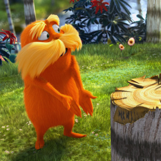 The Lorax (DANNY DEVITO) demands to know who chopped down the Truffula Tree in