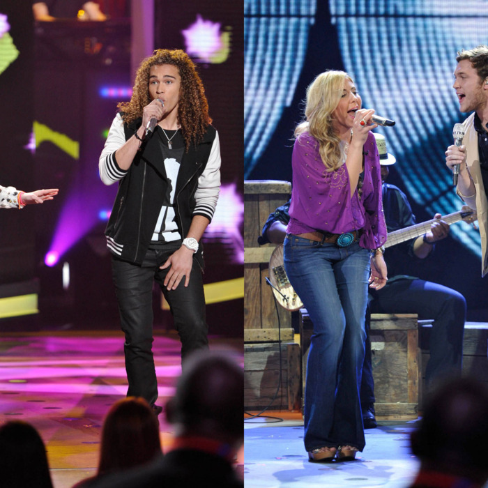 Hollie Cavanagh and DeAndre Brackensick (L), and Elise Testone and Phillip Phillips (R) perform duets in front of the judges on AMERICAN IDOL airing Wednesday, April 4.