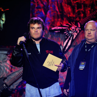 LOS ANGELES, CA - APRIL 11:Actor Jack Black and Kyle Gass of Tenacious D on stage during the 2012 Revolver Golden Gods Award Show at Club Nokia on April 11, 2012 in Los Angeles, California. (Photo by Frazer Harrison/Getty Images)