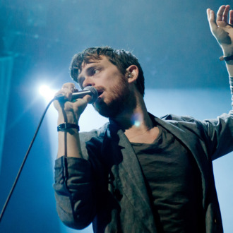 Chris Keating of Yeasayer performs on stage at The Roundhouse on October 21, 2010 in London, England.