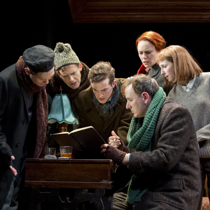 The cast of February House, music and lyrics by Gabriel Kahane, book by Seth Bockley, and directed by Davis McCallum, running at The Public Theater
