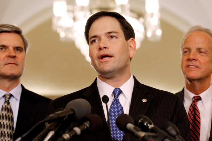 Sen. Marco Rubio (R-FL) (C) speaks during news conference