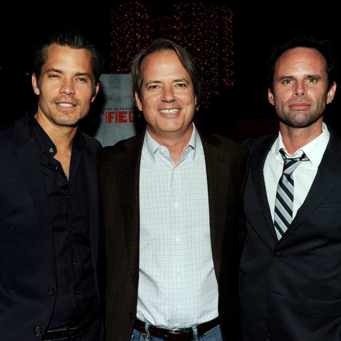 Actor Timothy Olyphant, executive producer Graham Yost and actor Walton Goggins arrive at the premiere of FX Networks & Sony Pictures Television's