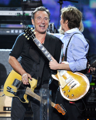 LOS ANGELES, CA - FEBRUARY 12: Bruce Springsteen and Paul McCartney perform onstage at the 54th Annual GRAMMY Awards held at Staples Center on February 12, 2012 in Los Angeles, California. (Photo by Kevin Winter/Getty Images)
