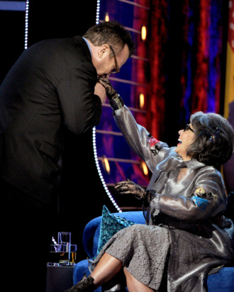 Actor Tom Arnold (L) and roastee Roseanne Barr onstage during the Comedy Central Roast of Roseanne Barr at Hollywood Palladium on August 4, 2012