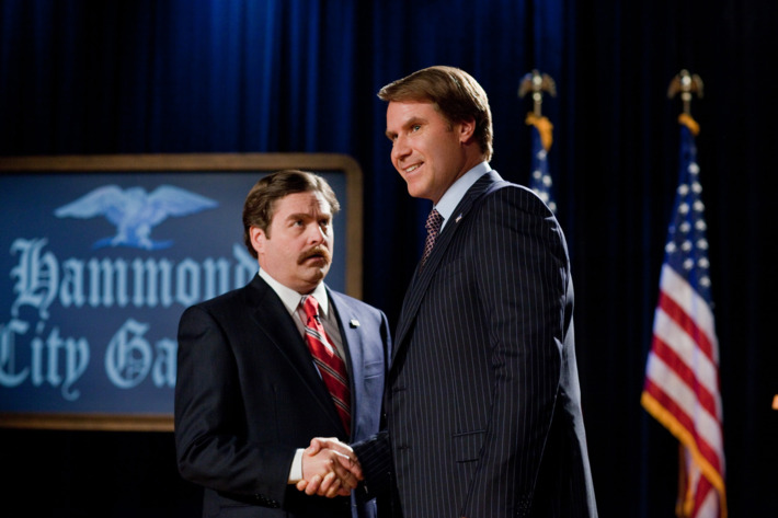 """(L-r) ZACH GALIFIANAKIS as Marty Huggins and WILL FERRELL as Cam Brady in Warner Bros. Pictures' comedy """"THE CAMPAIGN"""""""