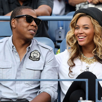 NEW YORK, NY - SEPTEMBER 12: Recording artists Jay-Z and Beyonce watch Rafael Nadal of Spain and Novak Djokovic of Serbia play during the Men's Final on Day Fifteen of the 2011 US Open at the USTA Billie Jean King National Tennis Center on September 12, 2011 in the Flushing neighborhood of the Queens borough of New York City. (Photo by Al Bello/Getty Images)