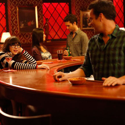 """NEW GIRL: Jess (Zooey Deschanel, L) contemplates her relationship with Nick (Jake Johnson, R) in the """"Fluffer"""" episode of NEW GIRL airing Tuesday, Oct. 2 (9:00-9:30 PM ET/PT) on FOX. ©2012 Fox Broadcasting Co."""