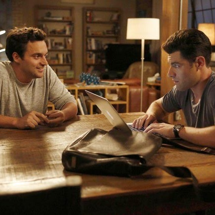 NEW GIRL: Nick (Jake Johnson, L) and Schmidt (Max Greenfield, R) discuss their friendship in the