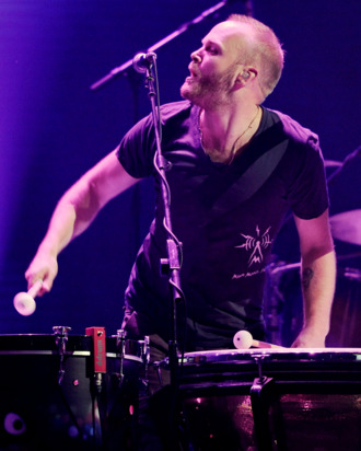 Coldplay drummer Will Champion performs at the iHeartRadio Music Festival at the MGM Grand Garden Arena September 23, 2011 in Las Vegas, Nevada.