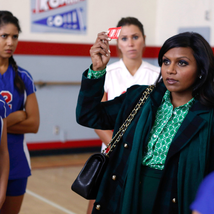 THE MINDY PROJECT: Mindy (Mindy Kaling, second from R) passes out condoms to a high school volleyball class in the