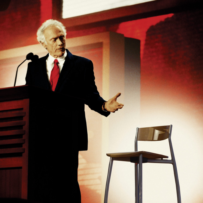 US actor Clint Eastwood, 82, talks to an imaginary US President Barack Obama seated in an empty chair onstage at the Republican National Convention at the Tampa Bay Times Forum in Tampa, Florida, USA, 30 August 2012. Eastwood endorsed Presidential candidate Mitt Romney during his remarks.