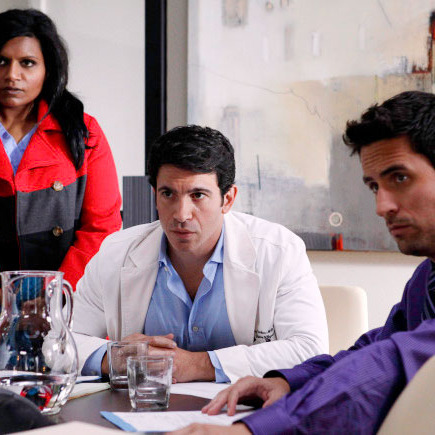 THE MINDY PROJECT: Mindy (Mindy Kaling, L), Danny (Chris Messina, C) and Jeremy (Ed Weeks, R) discover a change in the office staff in the