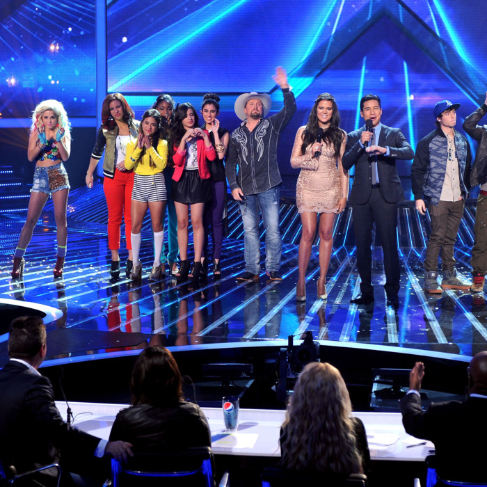 Hosts Khloe Kardashian and Mario Lopez (C) and contestants (L-R) Diamond White, Carly Rose Sonenclar, CeCe Frey, Fifth Harmony, Tate Stevens and Emblem3 onstage at FOX's