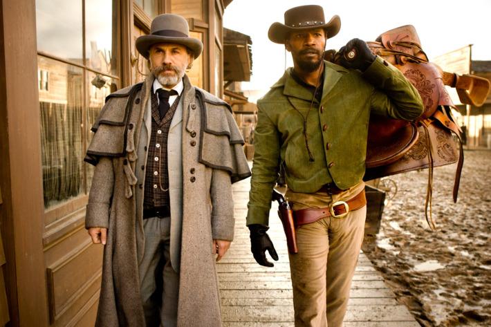 "Christoph Waltz, left, and Jamie Foxx star in Columbia Pictures' ""Django Unchained."""