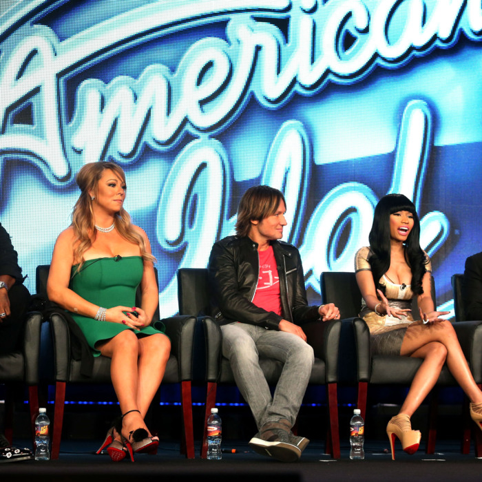 (L-R) Judges Randy Jackson, Mariah Carey, Keith Urban, Nicki Minaj and host Ryan Seacrest of