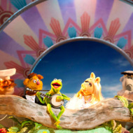 """""""THE MUPPETS"""" - RIGHT WHERE WE BELONG – With banjo-strumming Kermit at the center of the action, the Muppets – (l to r: Scooter, Swedish Chef, Fozzie Bear, Kermit, Miss Piggy {of course!}, Sam Eagle, Beauregard and Link Hogthrob) – are ready to play the music, light the lights and get things started in THE MUPPETS (Opening in theatres on November 23rd)."""