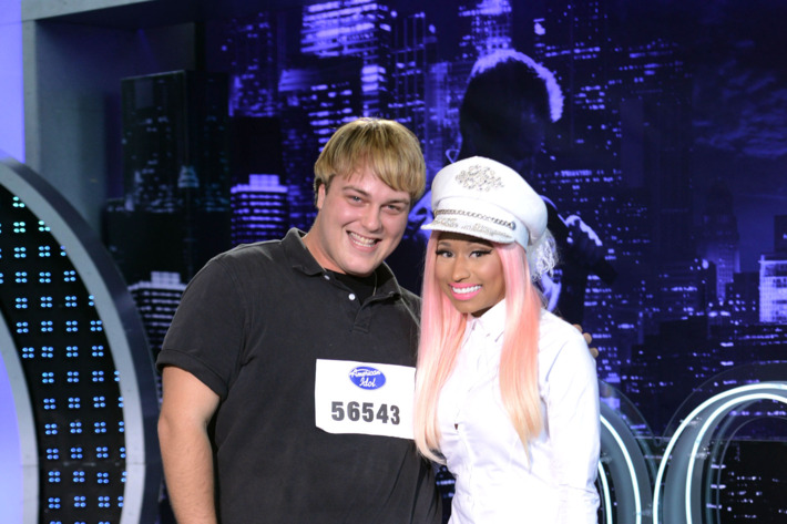 "AMERICAN IDOL: Baton Rouge  Auditions: L-R: Contestant Chris ""Mushroom"" Barthel with Niki Minaj on AMERICAN IDOL airing Thursday, Jan. 24 (8:00-9:00 PM ET/PT) on FOX."