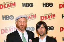 "Jonathan Ames and Jason Schwartzman attend the premiere of HBO's ""Bored to Death"" at the Clearview Chelsea Cinemas on September 10, 2009 in New York City."