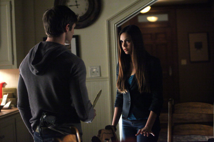 """The Vampire Diaries -- """"Catch Me If You Can"""" -- Pictured (L-R): Steven R. McQueen as Jeremy and Nina Dobrev as Elena"""