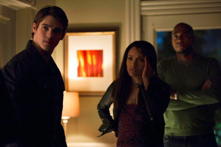 """The Vampire Diaries -- """"A View to a Kill"""" -- Pictured (L-R): Steven R. McQueen as Jeremy, Kat Graham as Bonnie, and Rick Worthy as Rudy"""