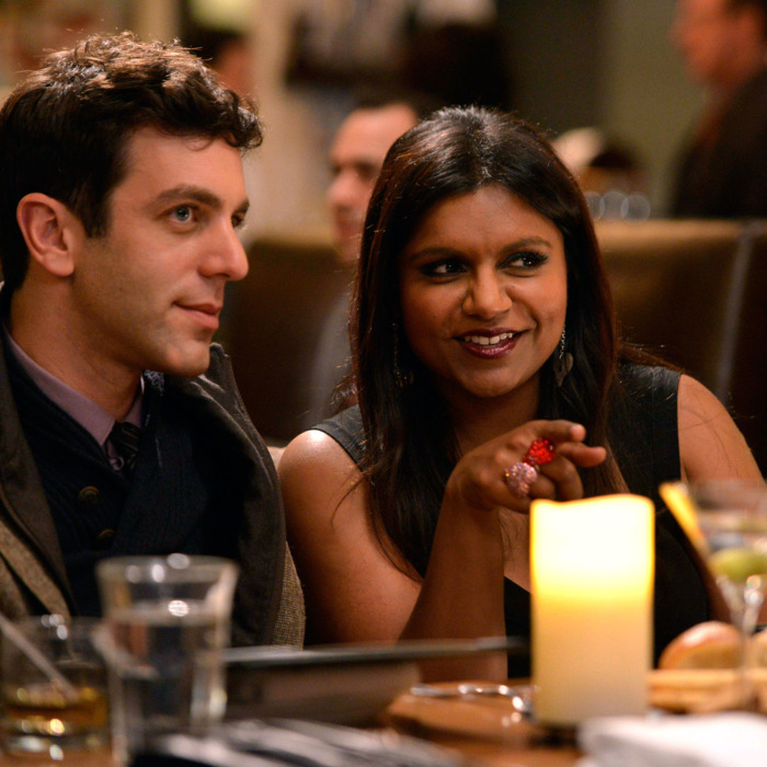 THE MINDY PROJECT: Jaime (guest star B.J. Novak, L) and Mindy (Mindy Kaling, R) double-date on Valentine's Day in the
