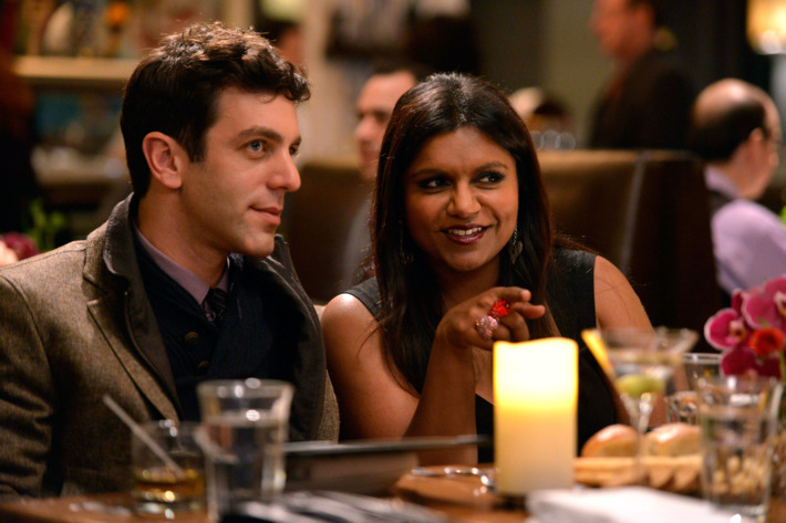 """THE MINDY PROJECT: Jaime (guest star B.J. Novak, L) and Mindy (Mindy Kaling, R) double-date on Valentine's Day in the """"Harry & Mindy"""" episode of THE MINDY PROJECT Tuesday, Feb. 5 (9:30-10:00 PM ET/PT) on FOX."""