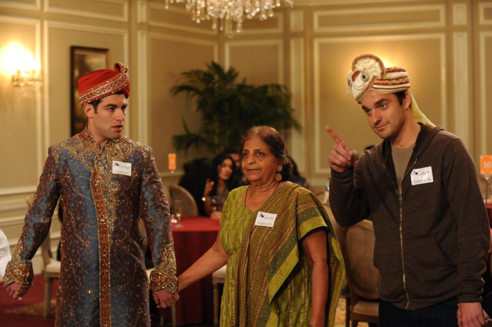 """NEW GIRL:  Schmidt (Max Greenfield, L) and Nick (Jake Johnson, R) play a game with an older Indian woman (guest star Swati Panat, C) when they attend a dating convention in the """"Table 34"""" episode of NEW GIRL airing Tuesday, Feb. 5 (9:00-9:30 PM ET/PT) on FOX."""