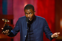 """LOS ANGELES, CA - FEBRUARY 10:  Singer Frank Ocean accepts Best Urban Contemporary Album award for """"Channel Orange"""" onstage at the 55th Annual GRAMMY Awards at Staples Center on February 10, 2013 in Los Angeles, California.  (Photo by Kevork Djansezian/Getty Images)"""