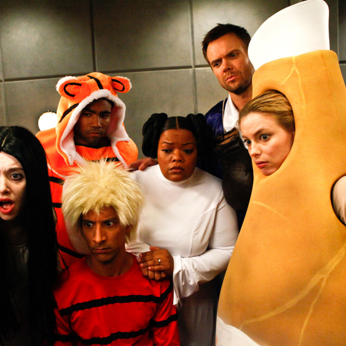 COMMUNITY -- Episode 403 -- Pictured: (l-r) Alison Brie as Annie, Donald Glover as Troy, Danny Pudi as Abed, Yvette Nicole Brown as Shirley, Joel McHale as Jeff Winger, Gillian Jacobs as Britta