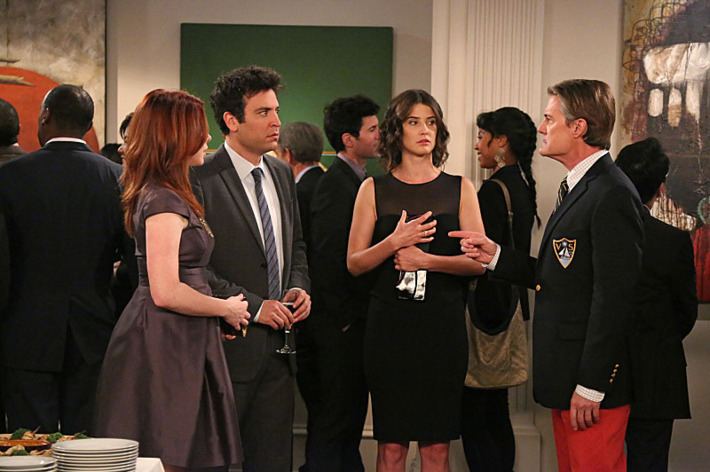 """The Ashtray"" -- When Ted (Josh Radnor, left center) receives an unexpected call from The Captain (Kyle MacLachlan, right), the gang reminisced about their last awkward encounter with him, on HOW I MET YOUR MOTHER, Monday, Feb. 18 (8:00-8:30 PM, ET/PT) on the CBS Television Network. Also pictured: Alyson Hannigan (left) and Cobie Smulders (center)"