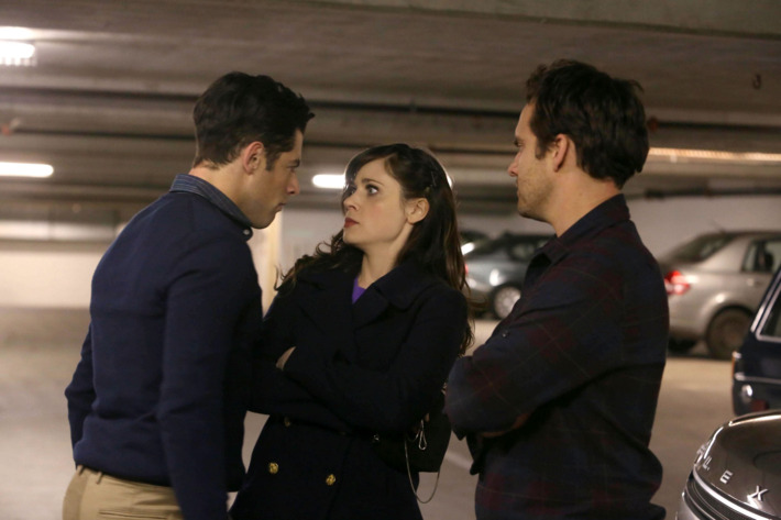 """NEW GIRL:  L-R:  Schmidt (Max Greenfield), Jess (Zooey Deschanel) and Nick (Jake Johnson) battle it out for a newly discovered parking spot in their building in the """"Parking Spot"""" episode of NEW GIRL airing Tuesday, Feb. 19 (9:00-9:30 PM ET/PT)"""
