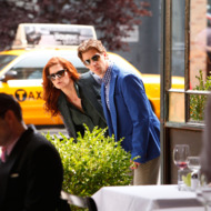 "SMASH -- ""The Dramaturg"" Episode 203 -- Pictured: (l-r) Debra Messing as Julia Houston, Christian Borle as Tom Levitt"