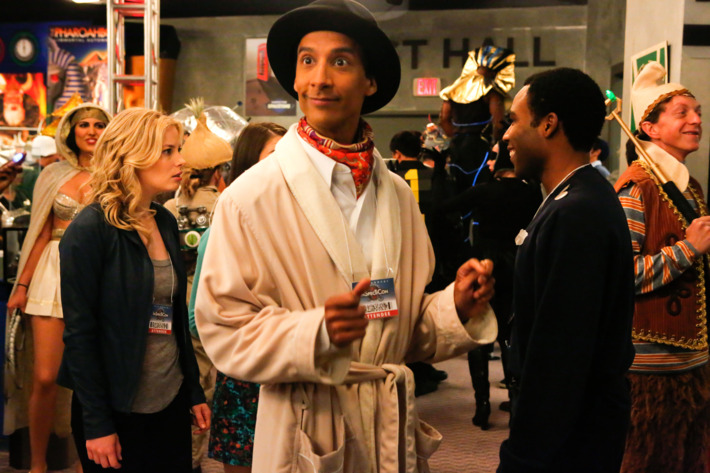 """COMMUNITY -- """"Conventions of Space and Time"""" Episode 404 -- Pictured: (l-r) Gillian Jacobs as Britta, Danny Pudi as Abed, Donald Glover as Troy"""