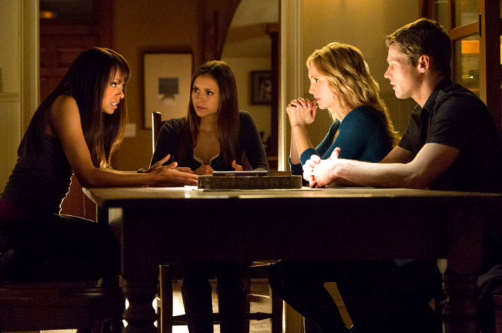 "The Vampire Diaries -- ""Stand by Me"" -- Pictured (L-R): Kat Graham as Bonnie, Nina Dobrev as Elena, Candice Accola as Caroline, and Zach Roerig as Matt"