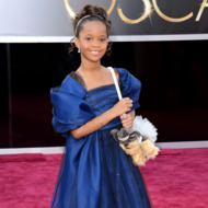 Actress Quvenzhane Wallis arrives at the Oscars at Hollywood & Highland Center on February 24, 2013 in Hollywood, California.